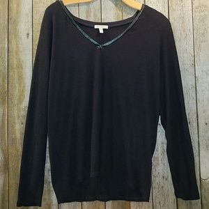 Bordeaux black v neck dolman style ribbed top